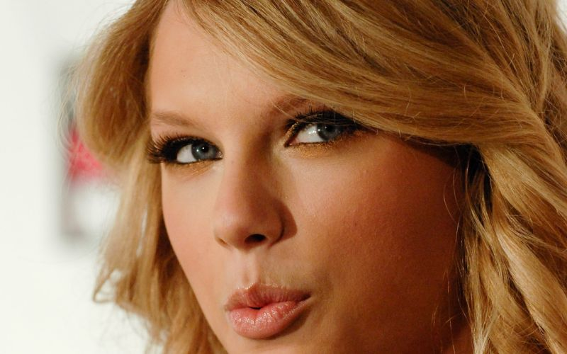 blondes women close-up blue eyes Taylor Swift long hair celebrity smiling faces wallpaper