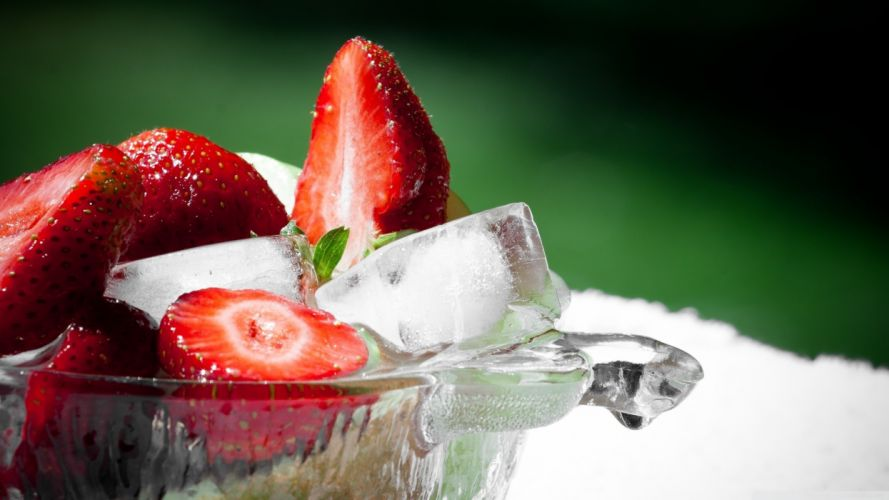 ice fruits strawberries ice cubes wallpaper