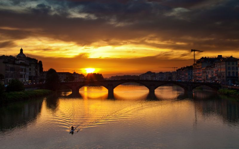 sunset cityscapes Florence rivers wallpaper