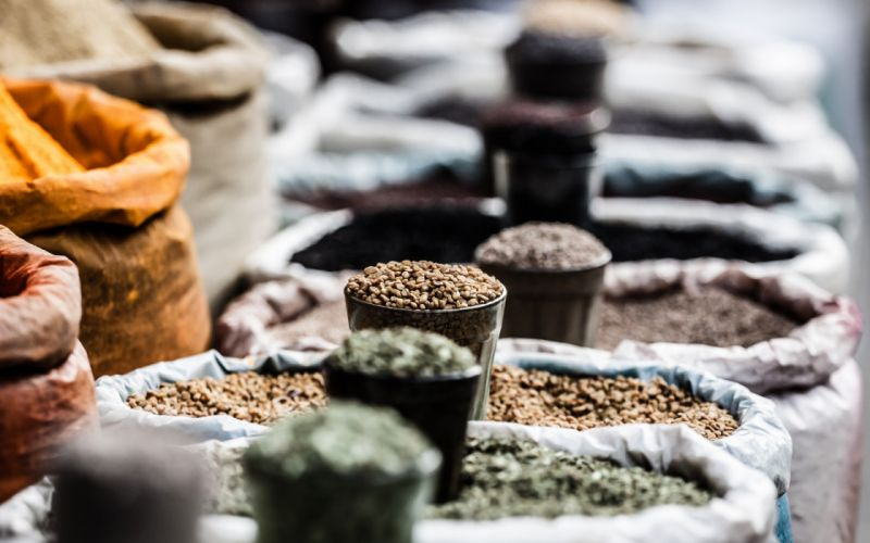 food baskets depth of field spices herbs wallpaper