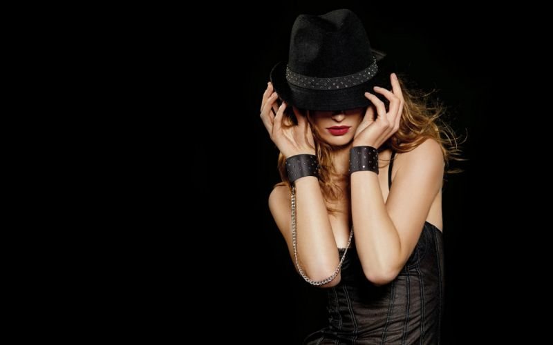 brunettes women black lips corset black background fedoras wallpaper
