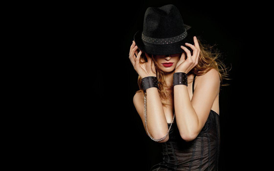 brunettes women black lips corset black background fedoras wallpaper