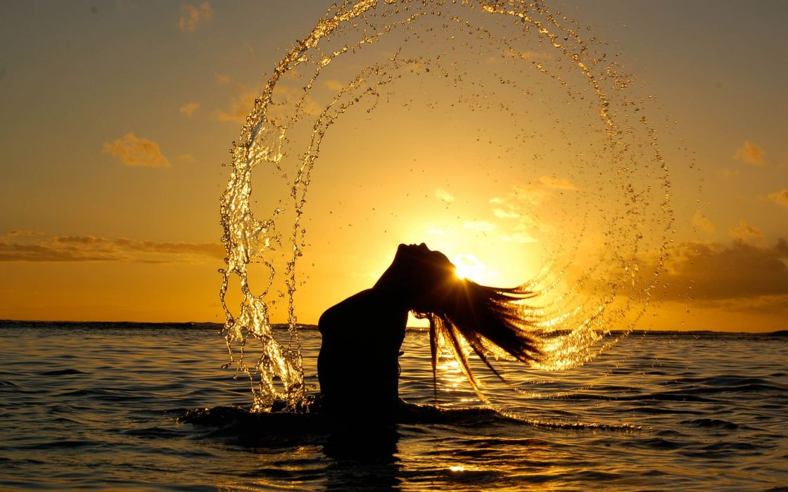 women water Sun seascapes wallpaper