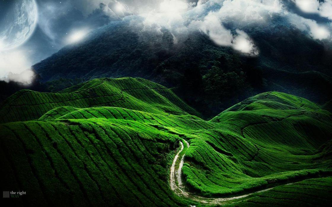 landscapes nature fields hills mist roads wallpaper