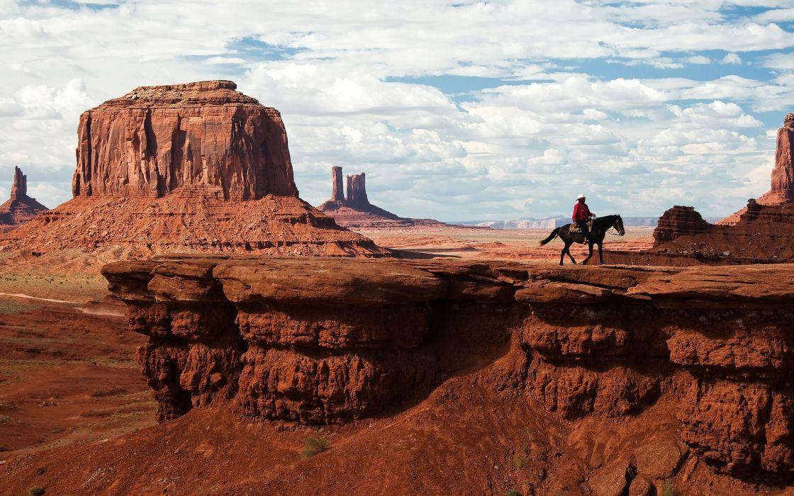 clouds nature animals rocks horses Utah Monument Valley Navajo blue skies wallpaper