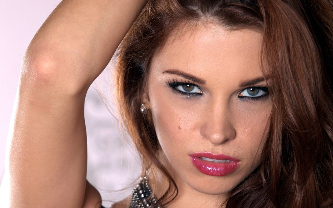 women close-up eyes blue eyes redheads Sabrina Maree faces wallpaper