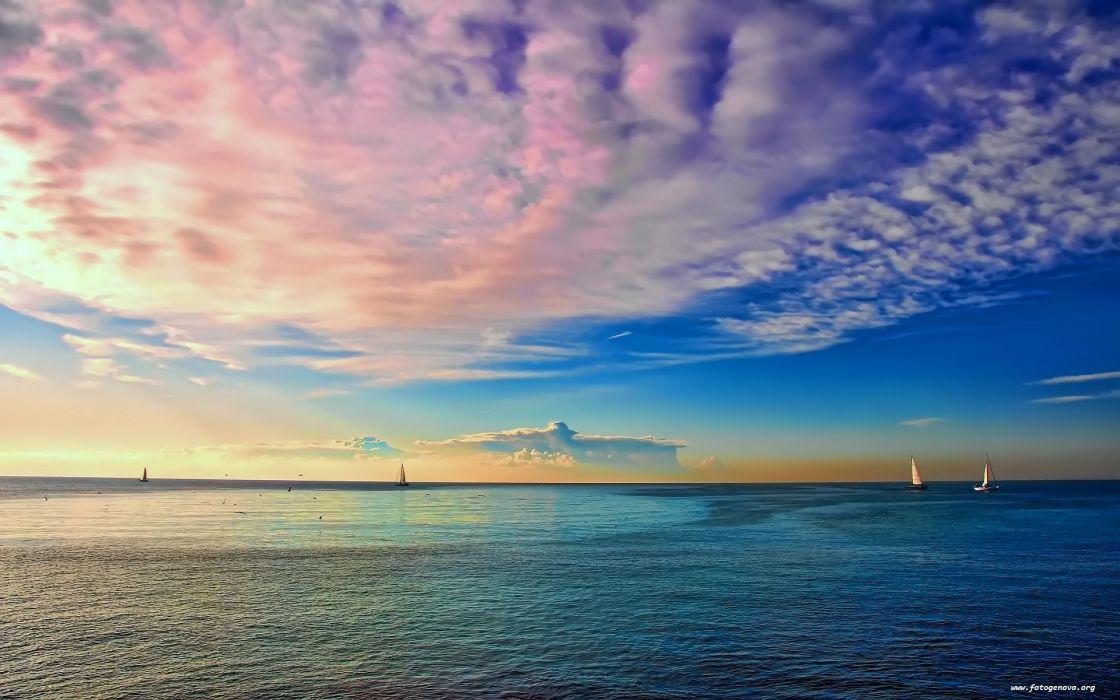clouds seascapes sea wallpaper