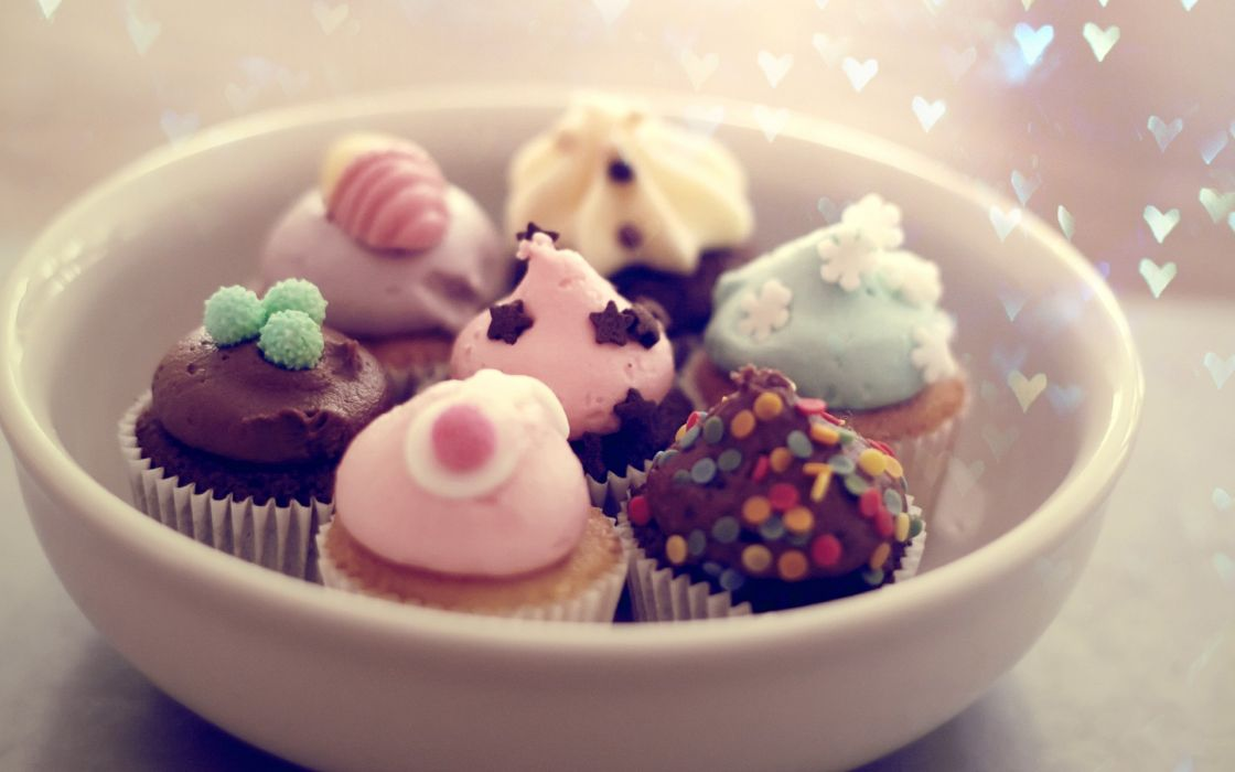 cupcakes bowls wallpaper