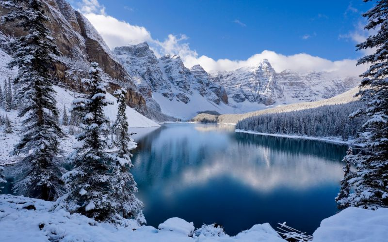 mountains landscapes winter snow trees reflections wallpaper
