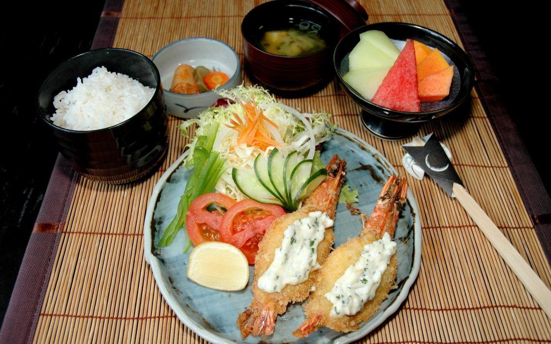 food rice tempura wallpaper