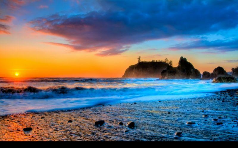 sunset ocean beach surfing wallpaper