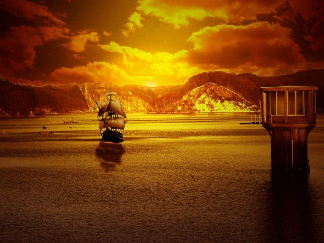 sunset nature sea wallpaper