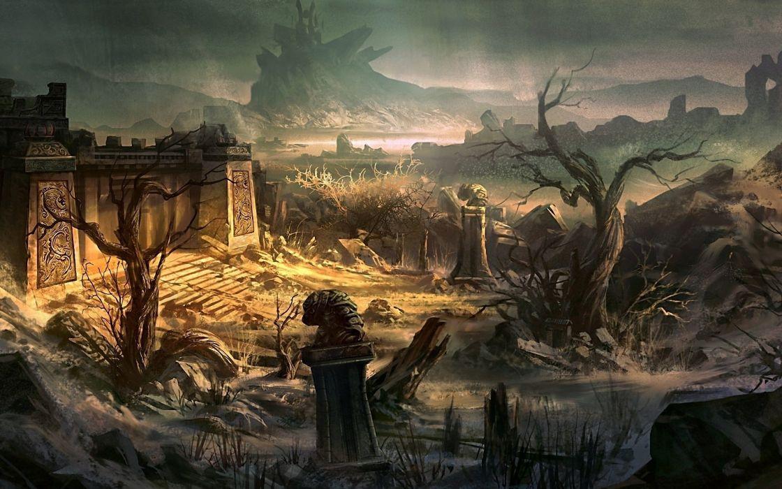 ruins fantasy art artwork wallpaper