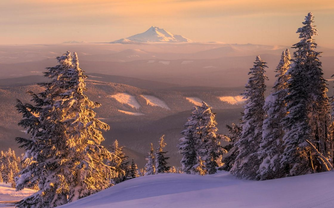 sunset mountains landscapes nature winter snow trees skylines forest wallpaper