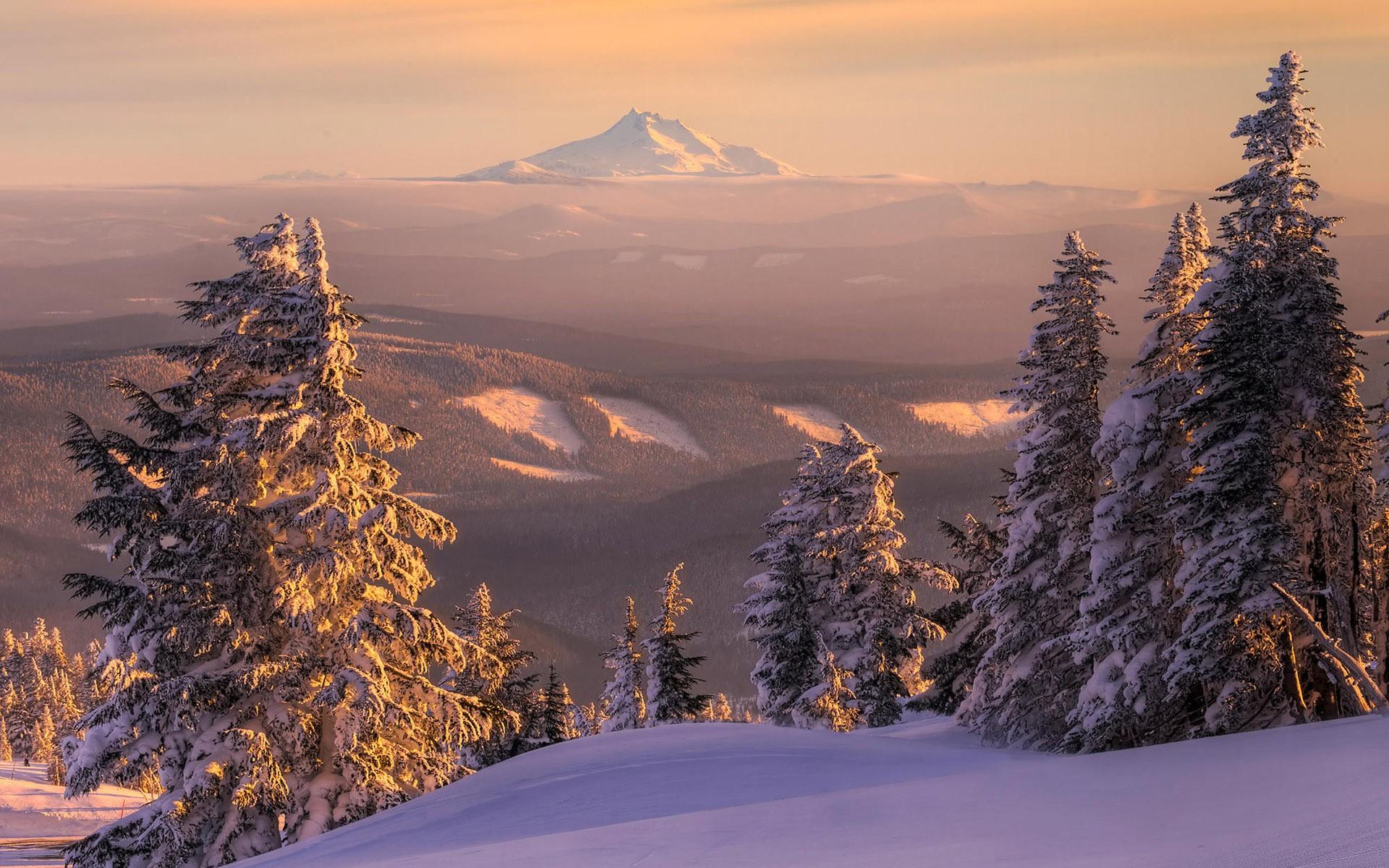 Sunset mountains landscapes nature winter snow trees for Sfondi invernali per desktop gratis