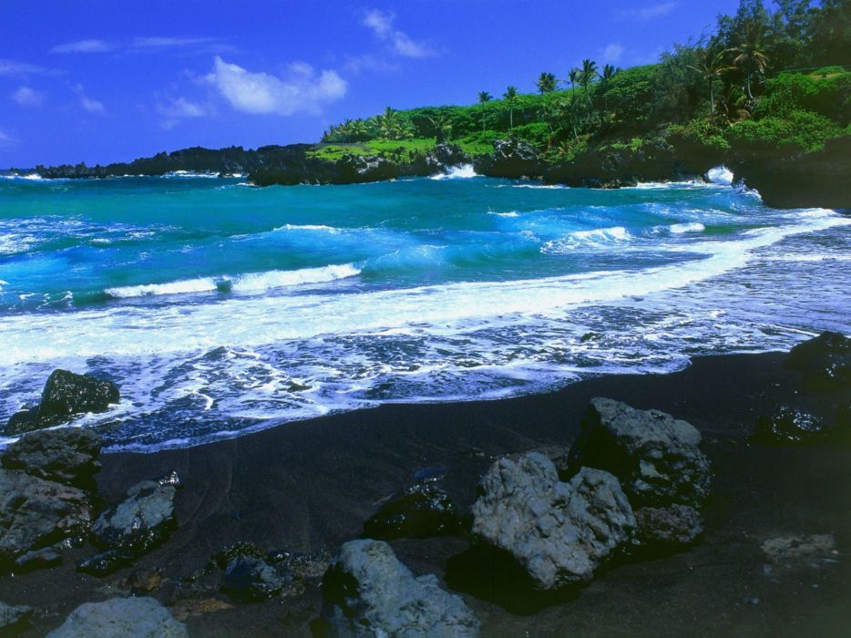 landscapes nature beach Hawaii wallpaper