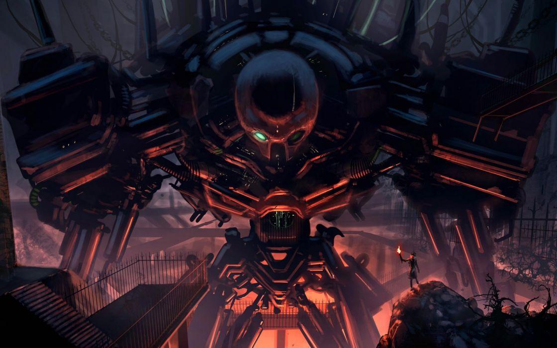 fantasy robots science fiction wallpaper