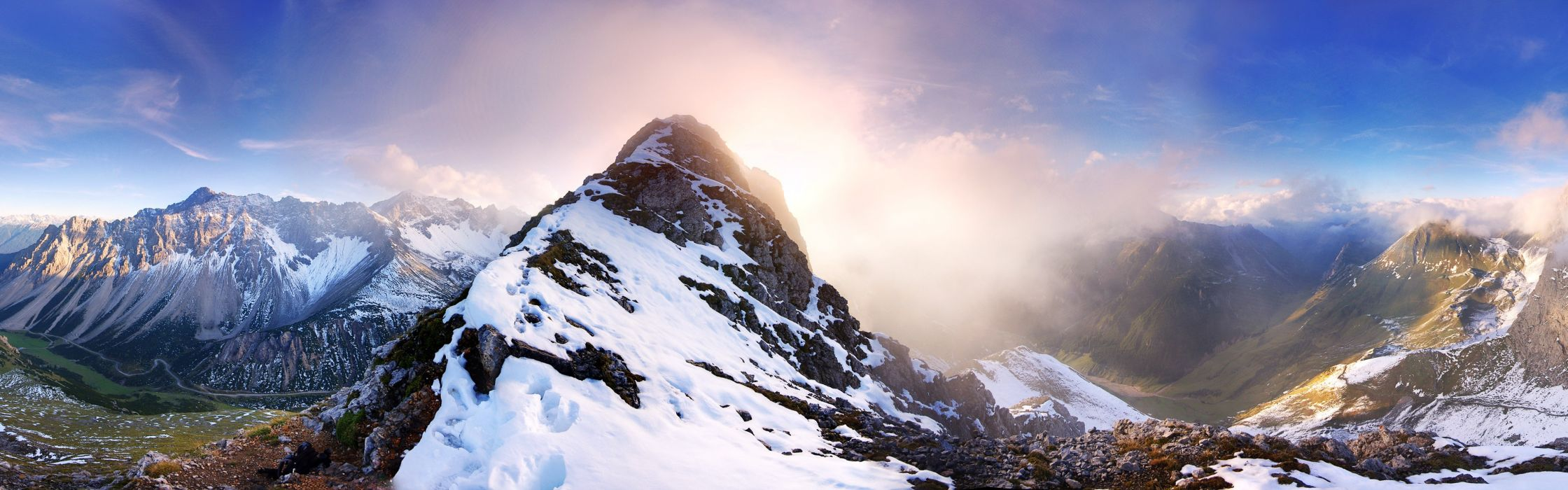 mountains landscapes snow Austria panorama wallpaper
