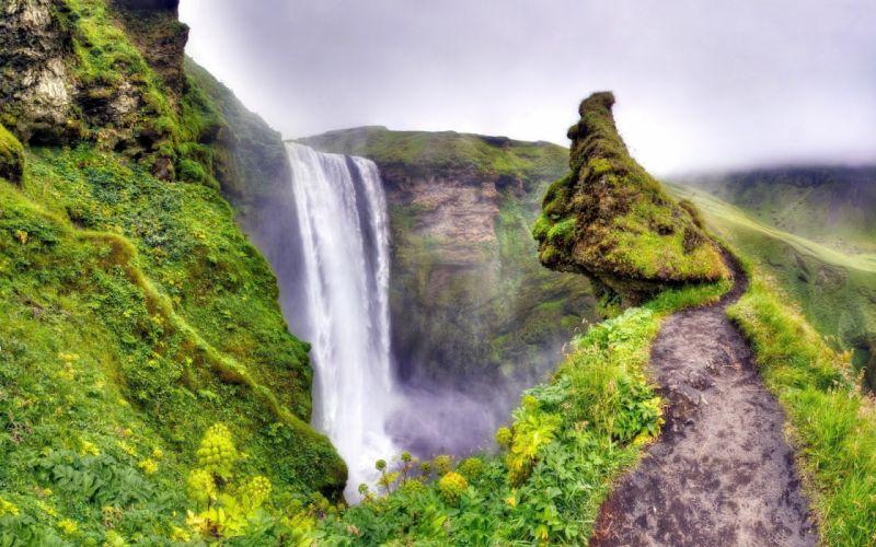 green landscapes nature falls moss track wallpaper