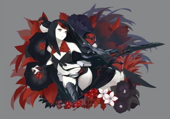 animal bird black hair flowers gray long hair original red eyes rose weapon wallpaper