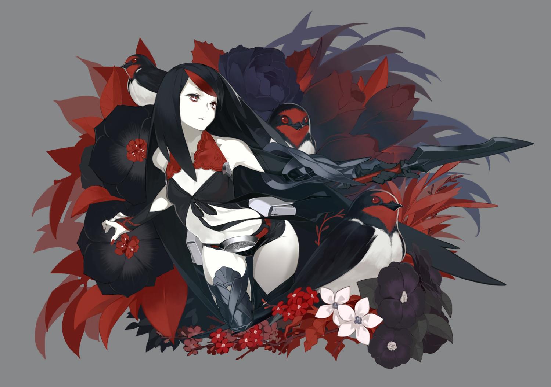 Animal bird black hair flowers gray long hair original red eyes