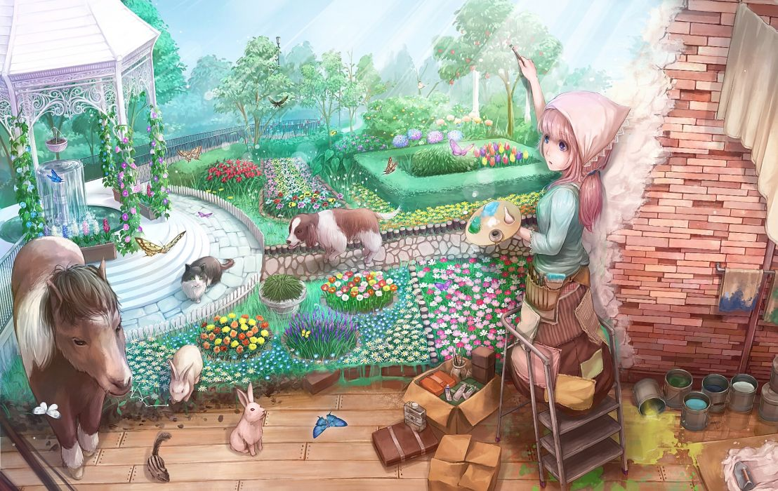 animal blue eyes bunny butterfly cat dog flowers grass lif (lif-ppp) long hair original pink hair ponytail scenic tree wallpaper