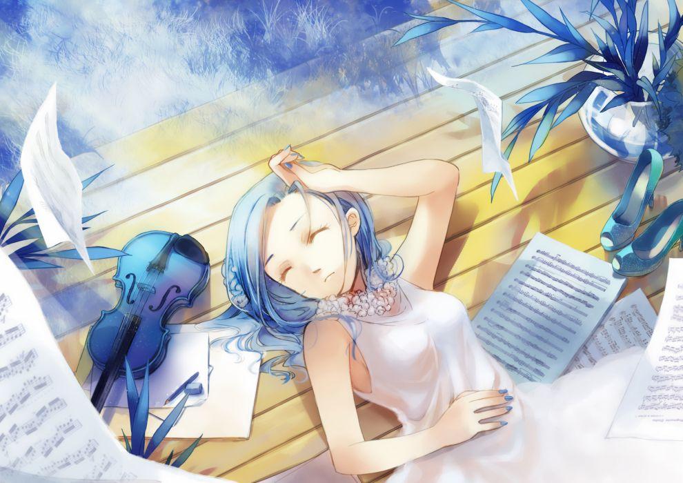 aster leo blue hair dress instrument original short hair sleeping violin wallpaper