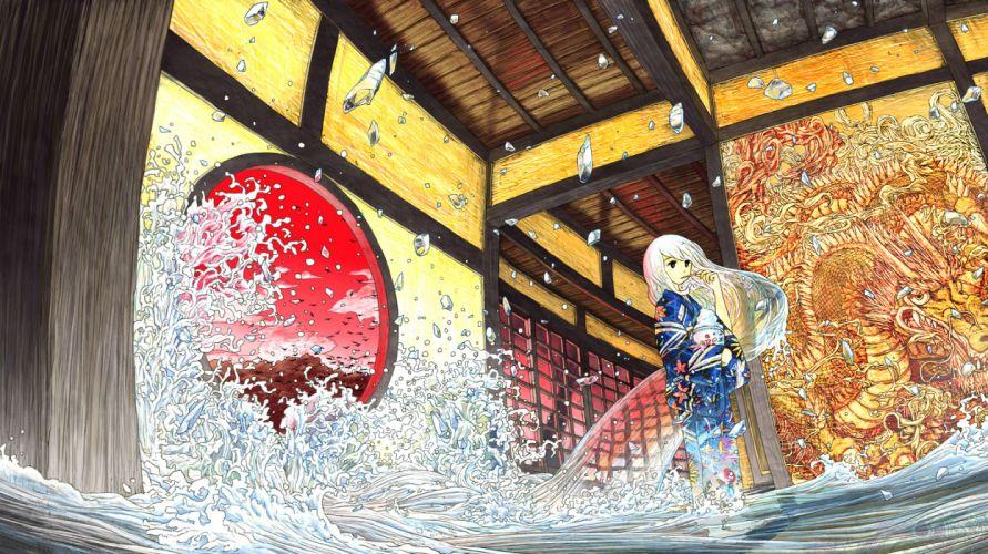 barefoot black eyes dragon japanese clothes long hair original sumashi water white hair wallpaper