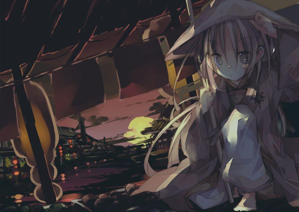 blonde hair brown eyes hat kazatabi lee long hair original sunset wallpaper