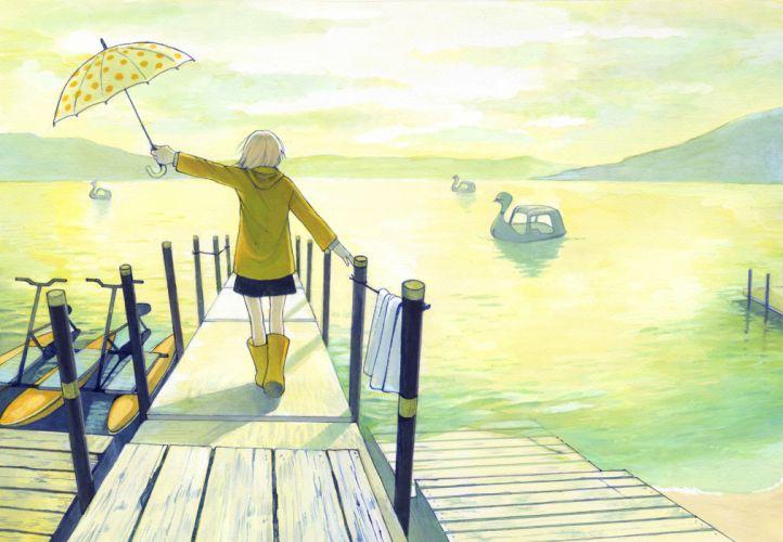 boat chika (mysweetgarden) original scenic umbrella water wallpaper