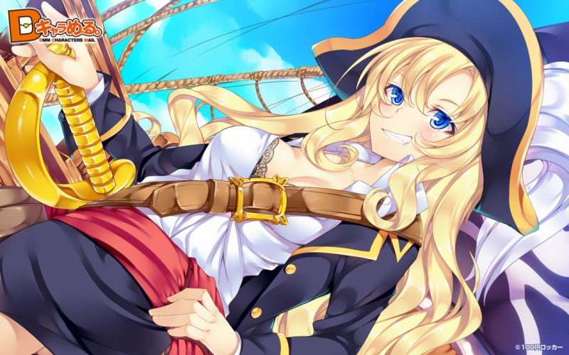 bra cleavage d chara mail dmm ichijou hitoshi original pirate underwear wallpaper