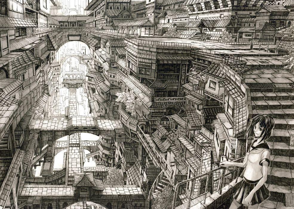 building city landscape mitauzo monochrome original scenic seifuku wallpaper