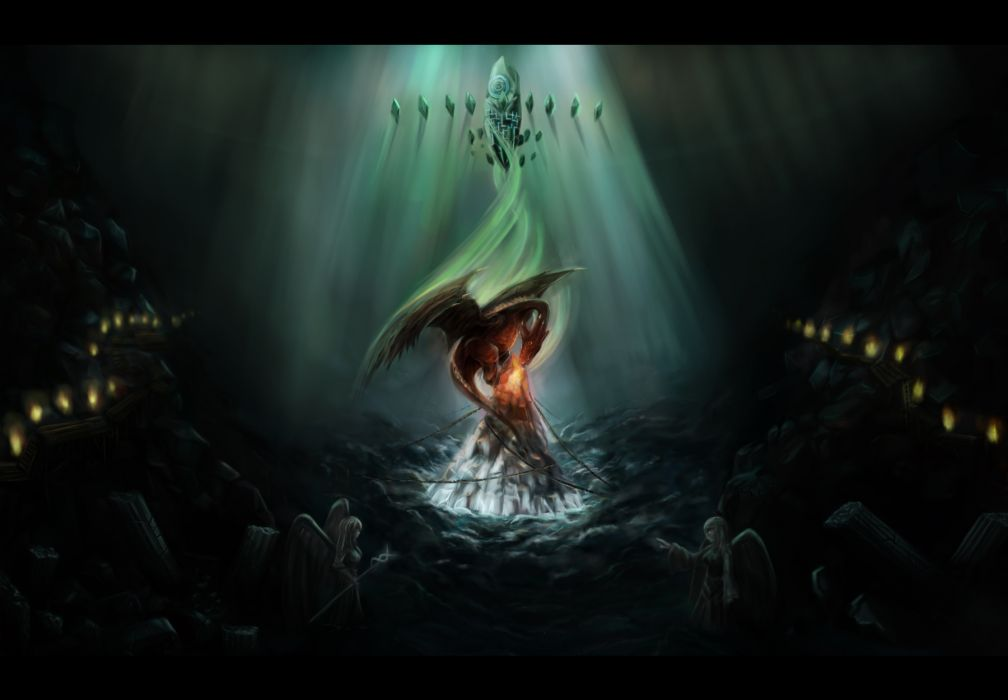 Fantasy Angel Black Dark Dragon Nopnop Original Wallpaper