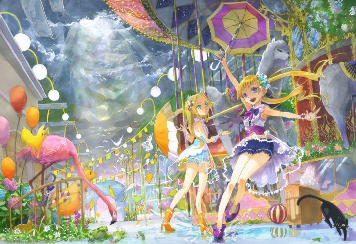 girls animal cat kyouya kakehi original umbrella water wallpaper