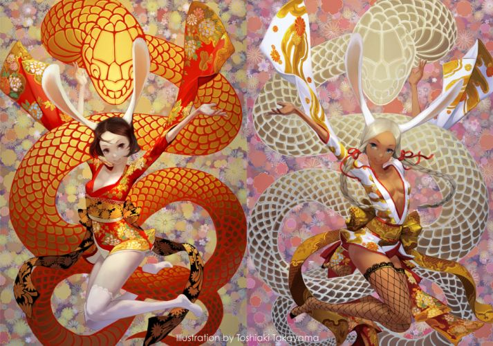 girls bunny ears bunnygirl dragon kneehighs original takayama toshiaki thighhighs wallpaper