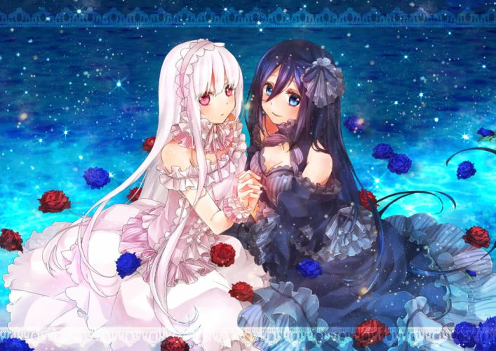 girls cleavage dress flowers lolita fashion long hair original rose yama bukiiro wallpaper