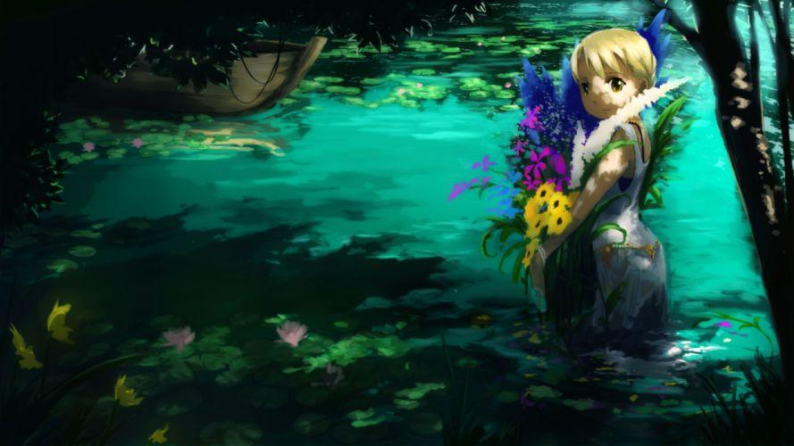 blonde hair boat dress flowers original sanyama tarou short hair water yellow eyes wallpaper