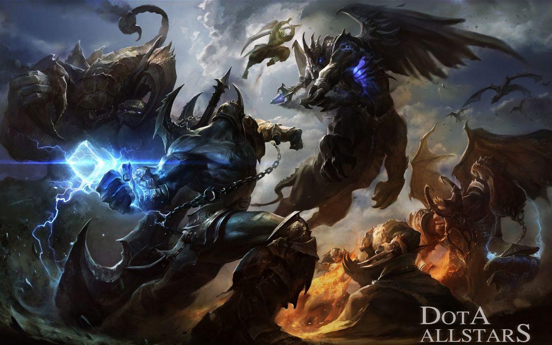 Art Dota Allstars warriors demons battle fantasy weapons wallpaper