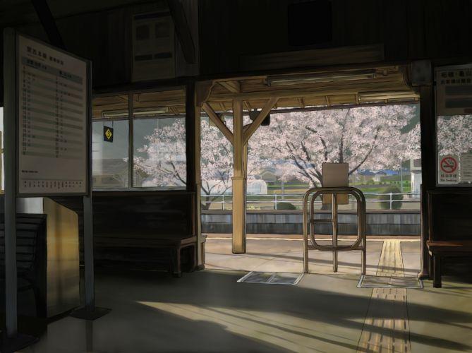 cherry blossoms landscape original scenic spring yume32ki wallpaper