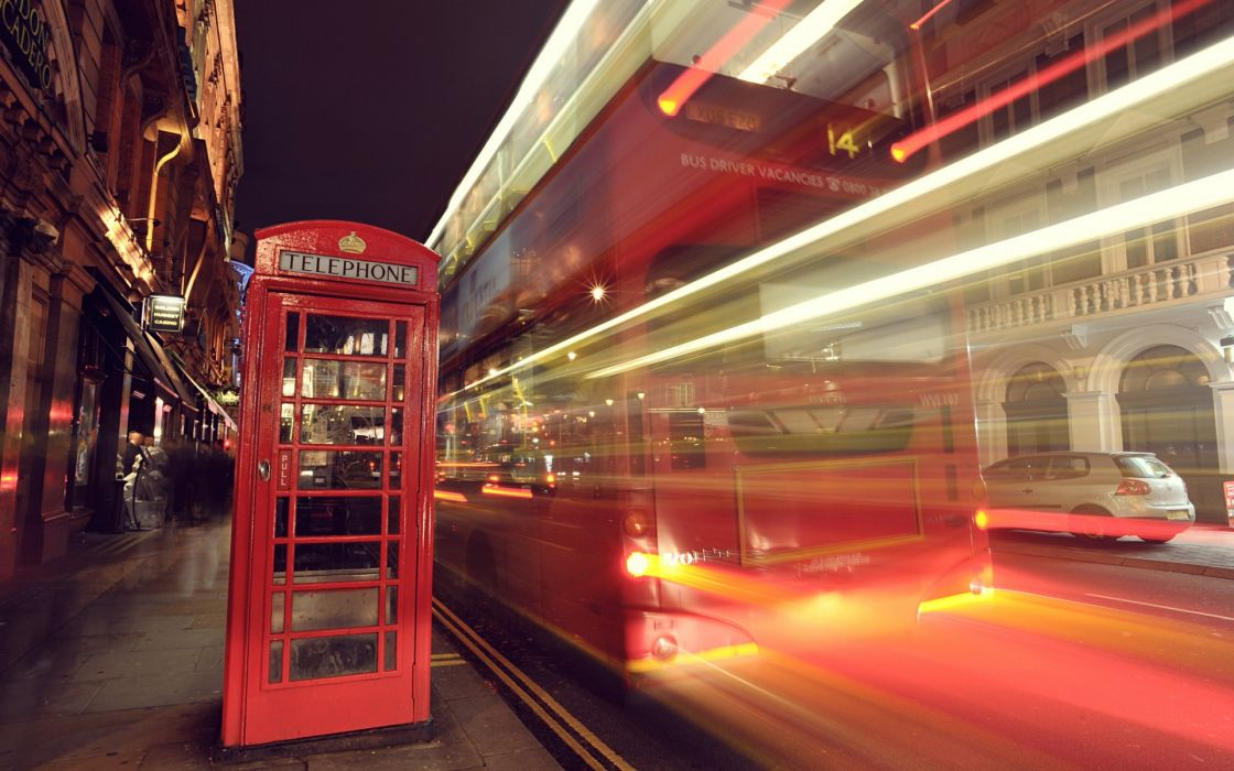 City London England night street telfon light lights exposure buildings booth wallpaper