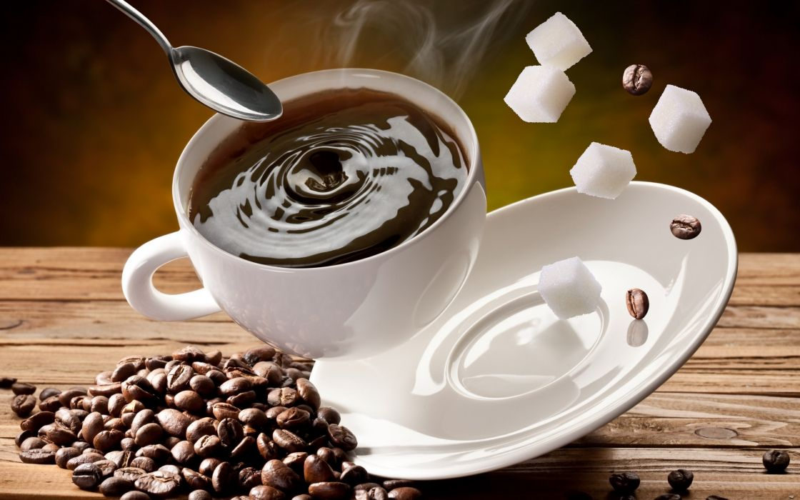 coffee corn sugar cubes cup white spoon saucer wallpaper