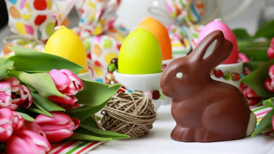 Easter eggs chocolate bunny holiday wallpaper