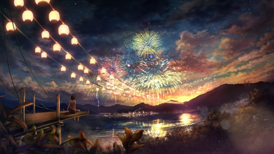 fireworks ixaga landscape original scenic wallpaper