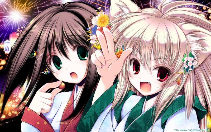 girls animal ears black hair blonde hair fang fireworks foxgirl original tenmu shinryuusai wallpaper