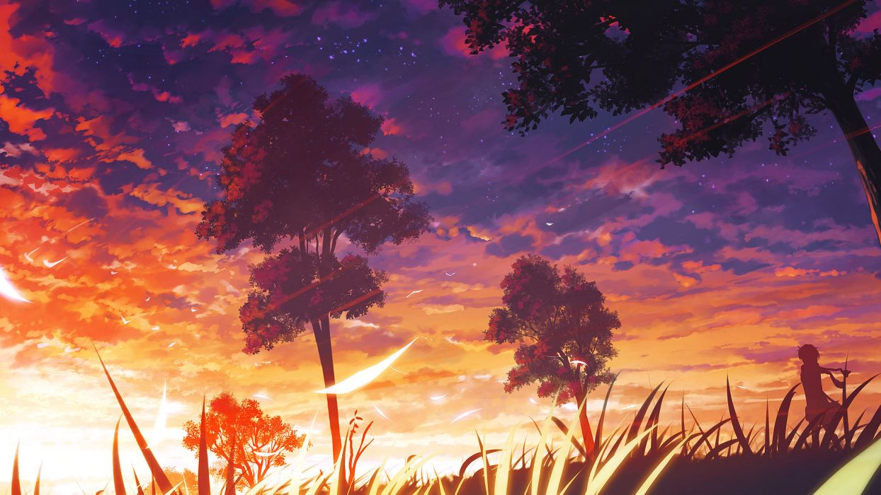 grass landscape original scarf scenic sunset tree wallpaper