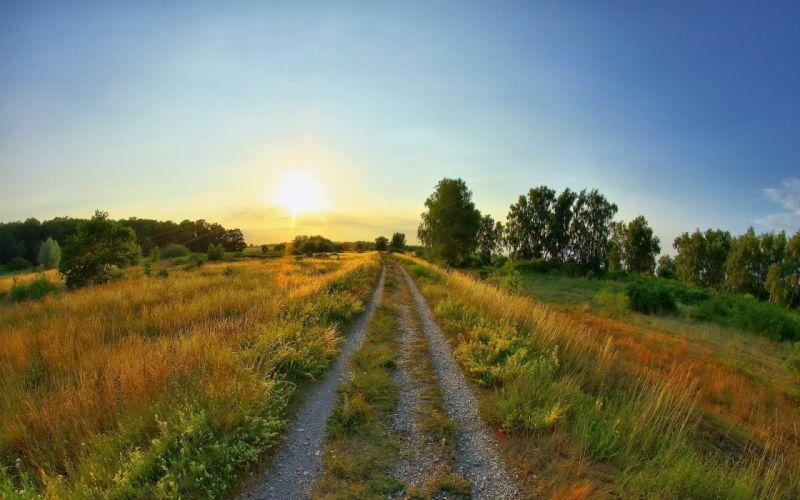road clearing summer sun sunrise sky landscapes fields grass wallpaper