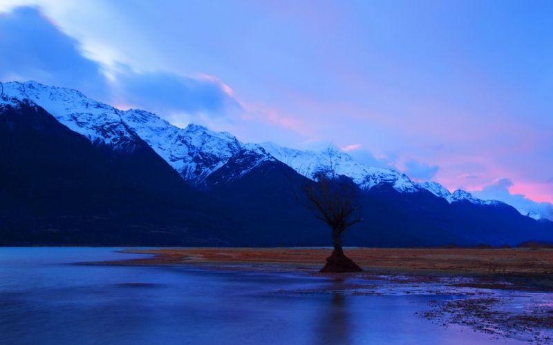 lake mountain landscape reflection sky clouds landscapes sunset sunrise trees wallpaper