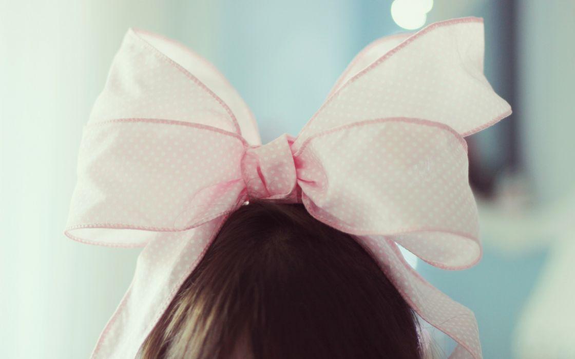 mood girl brunette bow bow pink females bokeh wallpaper