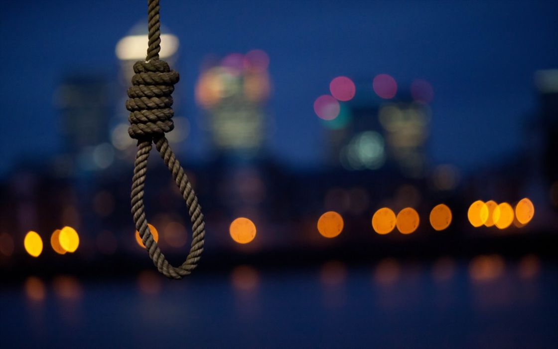 noose suicide hanging rope cities buildings skyscrapers mood night lights dark wallpaper