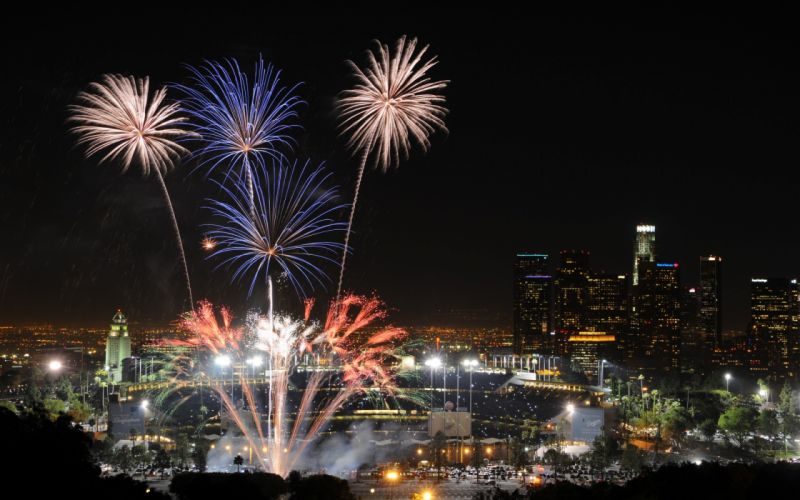 USA California Los Angeles night lights fireworks holidays fourth july new year cities buildings skyscrapers explosion wallpaper
